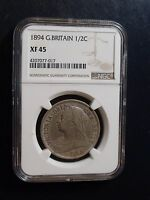 1894 GREAT BRITAIN HALF CROWN NGC XF45 1/2C COIN BEAUTIFUL A