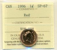 1996 CANADA SMALL CENT RED; NBU ICCS SP 67 AFFORDABLE FOR NEW HOBBYIST