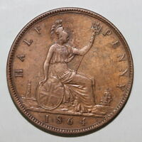 UK GREAT BRITAIN 1/2 HALF PENNY 1864  MG162