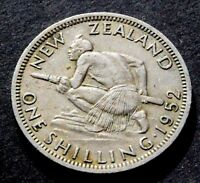 1952  NEW ZEALAND   KING GEORGE VI SHILLING COIN
