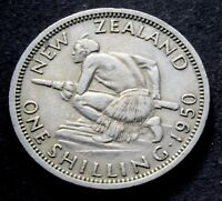 1950  NEW ZEALAND   KING GEORGE VI SHILLING COIN