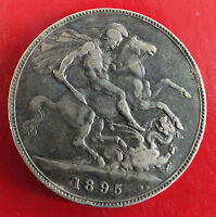 1895 QUEEN VICTORIA SILVER CROWN   LVIII