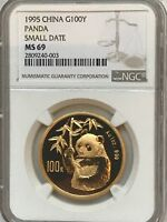 CHINA 1995 PANDA GOLD 1 OZ 100 YUAN NGC/NCS MINT STATE 69 SMALL DATE