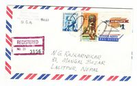 $1.00 AIRLIFT SCOTT 1341 REGISTERED TO NEPAL 1972   UNUSUAL AIRMAIL