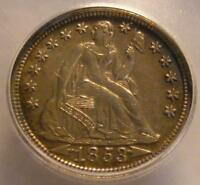 UNCIRCULATED 1853 WITH ARROWS SEATED LIBERTY DIME ICG MINT STATE 61
