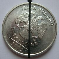 5 RUBLES 2009 M. TURN OF THE IMAGE 35 ANGLE DEGREE. ERROR DEFECT. RUSSIA.