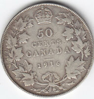 1916 CANADA STERLING SILVER 50 CENT HALF DOLLAR COIN   F