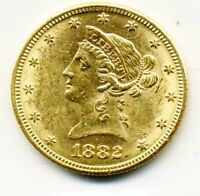 1882 TEN DOLLAR GOLD LIBERTY COIN UNCIRCULATED W/LOTS OF LUSTRE. BAG MARKS