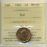 1995 CANADA SMALL CENT CERTIFIED ICCS MS 65