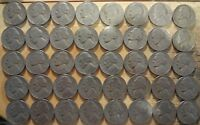 FULL ROLL OF 1954 JEFFERSON NICKELS  40 COINS CONDITION: AVERAGE CIRCULATED