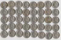 FULL ROLL OF 1953 S JEFFERSON NICKELS  LOW GRADE/DAMAGED    40 COINS