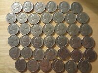 ROLL 1983 P JEFFERSON NICKELS   CHOICE EXTRA FINE/ABOUT UNCIRCULATED  40 COINS