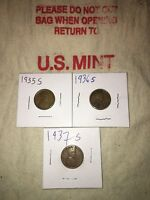 1935 S, 1936 S, 1937 S LINCOLN WHEAT PENNIES