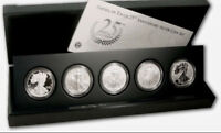 2011 25TH ANNIVERSARY 5 COIN SILVER EAGLE SET