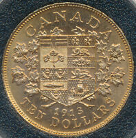 CANADA'S FIRST GOLD COIN HAND SELECTED GOLD 10 DOLLARS 1913