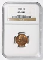 1931 LINCOLN WHEAT 1 CENT NGC MINT STATE 65 RB RED BROWN