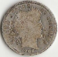 SILVER 1908 S BARBER DIME   ABOUT GOOD