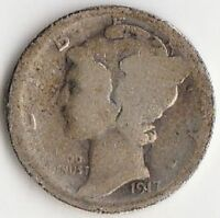 1917 S SILVER MERCURY DIME   ABOUT GOOD