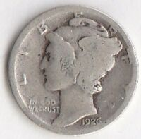 SILVER 1926 MERCURY DIME   ABOUT GOOD