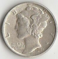 SILVER 1941 MERCURY DIME   ABOUT UNCIRCULATED