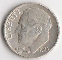 1946 SILVER ROOSEVELT DIME   EXTRA FINE