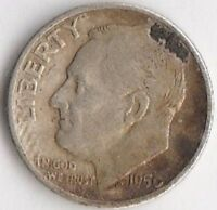 1950 S SILVER ROOSEVELT DIME   FINE  KEY DATE  WITH DISCOLORED OBVERSE