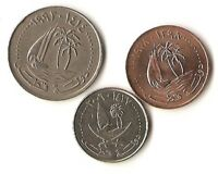 LOT OF THREE QATAR COINS 5 25 AND 50 DIRHAMS PALM TREE AND SHIP