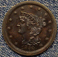 1854 BRAIDED HALF CENT MS COIN 1