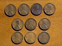 LOT OF 10 EARLY LINCOLN CENTS NO DUPLICATES 1909 1915 1915 D