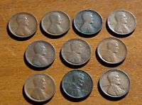LOT OF 10 EARLY LINCOLN CENTS 1909  X2  1910 1911 1913 1914 1916 1919 P