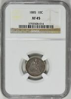 1885 SEATED LIBERTY DIME NGC EXTRA FINE -45