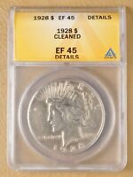 1928 P PEACE SILVER DOLLAR ANACS EF 45 DETAILS