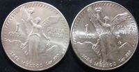 1OZ MEXICO .999 SILVER   1982 & 1984   TWO COINS   BRILLIANT UNCIRCULATED