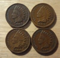 STARTER SET 4 DIFFERENT INDIAN HEAD CENTS  1902 1903 1906 1907    AVG CIRCULATED