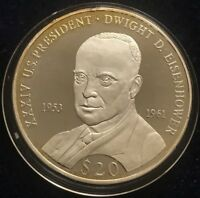2007 LIBERIA .999 SILVER PROOF $20 DWIGHT D EISENHOWER IKE MINTAGE 20 000