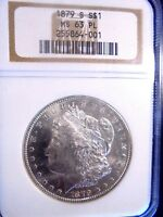 1879 S MORGAN SILVER DOLLAR $1 NGC GRADED MINT STATE 63 PL SUPERB COIN