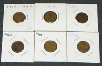 LOT OF 6 LINCOLN WHEAT CENT PIECES, RANGING 1910 TO 1919, HOME MOUNTED