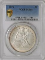 1872 SEATED LIBERTY DOLLAR $ 937568-14 MINT STATE 64 SECURE PLUS PCGS