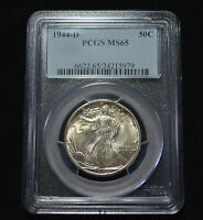 1944-D WALKING LIBERTY HALF DOLLAR GEM UNCIRCULATED PCGS MINT STATE 65 - 5Z36