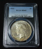 1922 PEACE DOLLAR - TONED GEM UNCIRCULATED PCGS MINT STATE 65 - 4C15