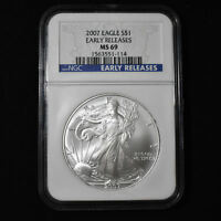 2007 AMERICAN SILVER EAGLE - NGC MINT STATE 69 EARLY RELEASES
