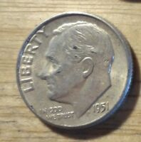 SILVER 1951 ROOSEVELT DIME   ABOUT UNCIRCULATED