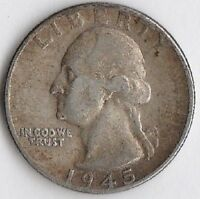 SILVER 1945 WASHINGTON QUARTER   CHOICE EXTRA FINE/ABOUT UNCIRCULATED