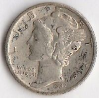 SILVER 1937 D MERCURY DIME   ABOUT UNCIRCULATED