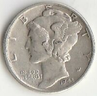 SILVER 1943 MERCURY DIME   ABOUT UNCIRCULATED