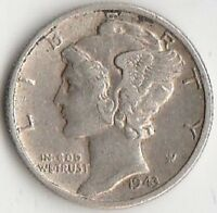 SILVER 1943 D MERCURY DIME   ABOUT UNCIRCULATED