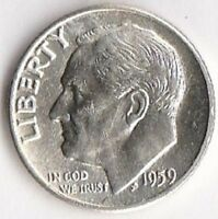 1959 D SILVER ROOSEVELT DIME   CHOICE BRILLIANT UNCIRCULATED