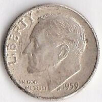 1959 SILVER ROOSEVELT DIME   ABOUT UNCIRCULATED