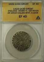 1422 30  ENGLAND SILVER GROAT FOURPENCE 4P COIN S 1836 HENRY VI ANACS EF 40
