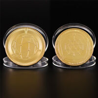 GOLD QUANTUM COIN COMMEMORATIVE ROUND COLLECTORS COIN BIT COIN COLLECTIBLE GIFT>